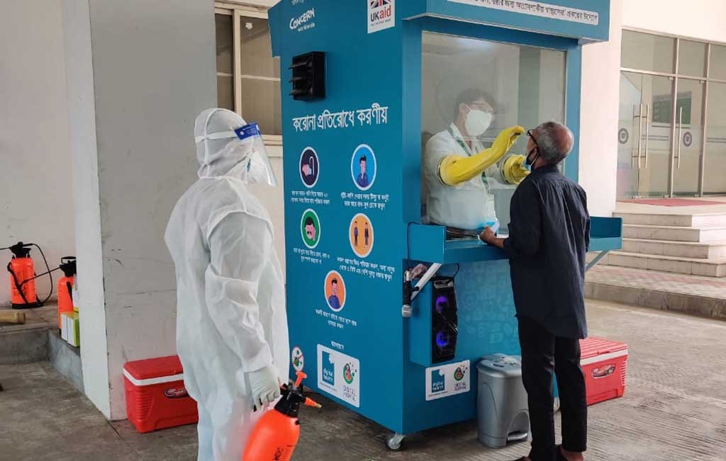 Digital Covid-19 triage, sample collection booths installed in Dhaka